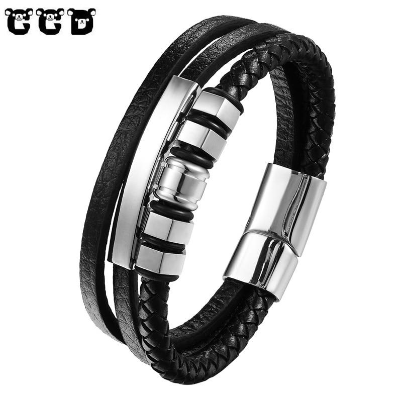 f9faa10f9e5a 2018 de moda de la joyería de los hombres Punk trenzado de cuero genuino pulsera  de acero inoxidable pulseras y brazaletes pulseras hombre 19 21  23 cm