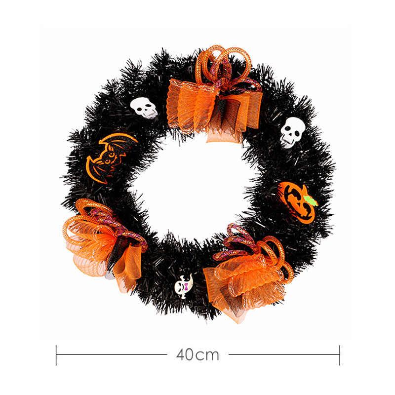 40 см венок из ПВХ для хеллоуина в черную венок из мишуры с черепами оранжевое украшение 40 см Диаметр вечерние украшение для дома, сада