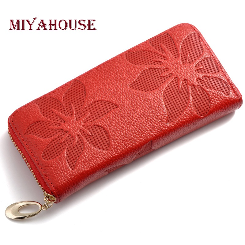 Miyahouse Women Wallets Genuine Leather Female Floral Print Wallets High Capacity Woman Long Clutches Purse With Change Purse