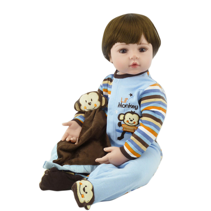 New Arrival 22 Inch 55cm Soft Silicone Reborn Baby Doll Handmade Clothes With A Monkey Plush Toy Brinquedos Early Education Toys 2018 new arrivals 22 soft vinyl silicone baby doll reborn 55cm with magnet pacifier cute monkey plush toys for girls mini doll