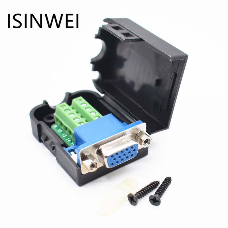 15 pin DB15 Female Nut Adapter Connector D-SUB VGA Terminal with Plastic Cover 3+6 Data Cable 5pcs db15 pin male welded connector vga plug serial port db15 adapter 3 row foot