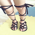Baby Girls Flat Heels Lace-up Leather Sandals Girls Rome Sandals Baby High Gladiator Sandals Kids PU Leather Sandals 4 Colors