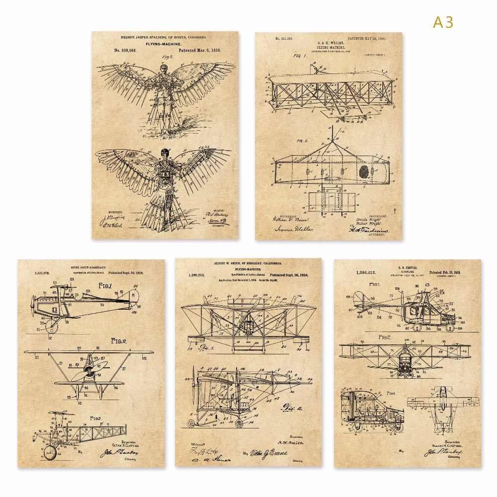 Vintage earlier airplane flying machine  patent art prints  sets  5 in 1 Airplane Nursery Plane Wall Art classic aircraft