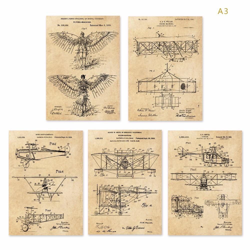 Vintage anterior avión máquina voladora patentes impresiones artísticas establece 5 en 1 Avión Nursery Plane Wall Art aviones clásicos