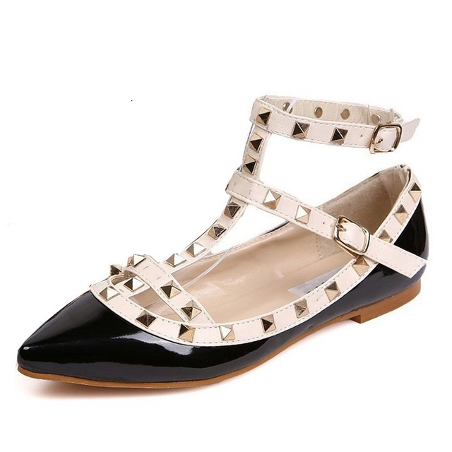 Fashion Women Rivet Pointed Toe Color Block Patent Leather Gladiator Flats Sexy Stud Women Ballet Flat Shoes Brand Flats