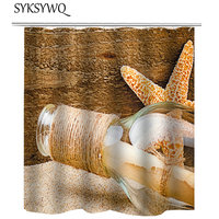 Drift Bottle Shower Curtain Vintage Wood Cortina Bano Bathroom Curtain Seastar Starfish Bath Curtain Glass Bottle Waterproof