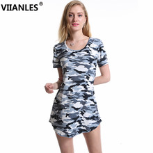 VIIANLES Camouflage Dress Sexy Mini Dresses Summer Women Print Army Green Short Sleeve Female Hot Sale Vestidos XXL