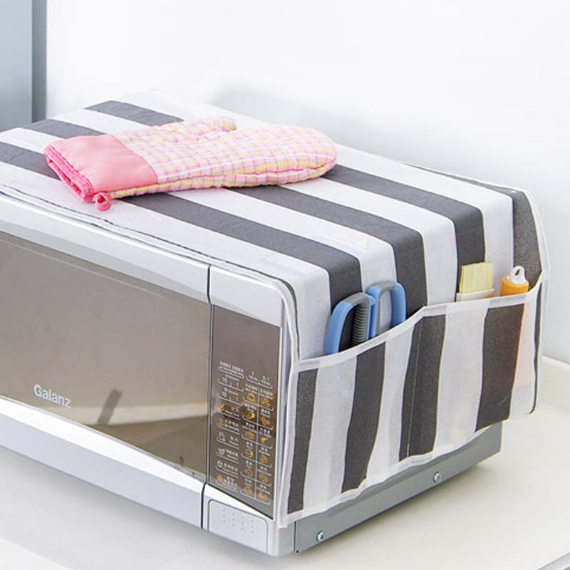 Microwave Oven Hood Waterproof Storage Bag 1pcs Dust Covers Microwave Cover Double Pockets Kitchen Accessories Grease Proofing