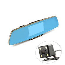 Anytek T6 1080P HD Blue Rearview Mirror Car Video Recorder DVR Dash Camcorder Double Lens Dual Camera 4.3 Inch