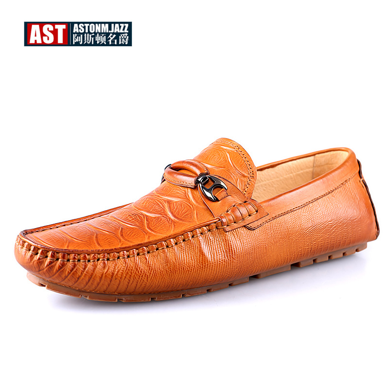Genuine Leather Mens SLIP-ON Driving Loafers Crocodile Print Buckle Boat Shoes Business Man Moccasins Casual Shoes branded men s penny loafes casual men s full grain leather emboss crocodile boat shoes slip on breathable moccasin driving shoes