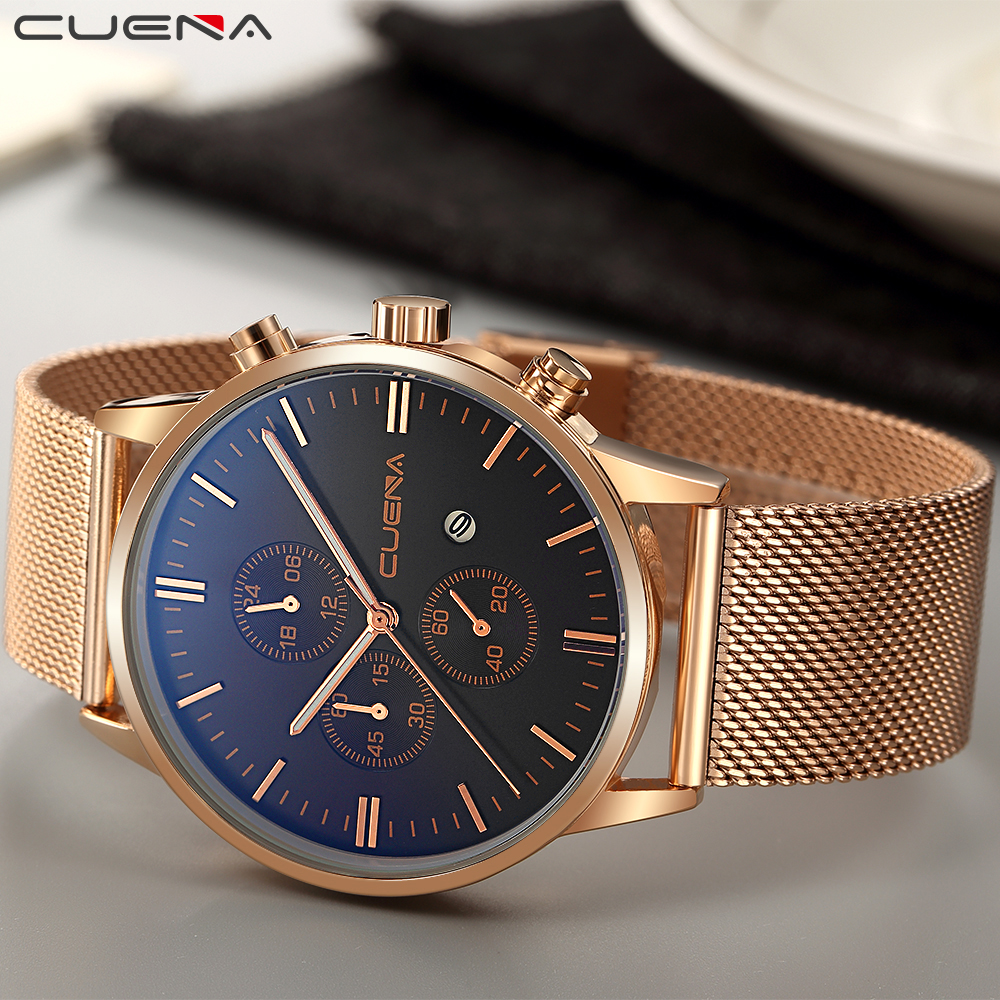CUENA Men Quartz Ժամացույցներ Watրի դիմացկուն - Տղամարդկանց ժամացույցներ - Լուսանկար 3