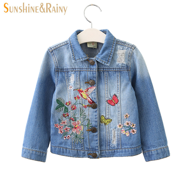 cee1d43fb90a Girls Denim Jackets Coats Designer Embroidery Flower Jean Jacket ...
