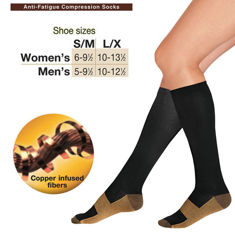 1pair Women Men Comfortable Relief Soft Miracle Copper Anti-Fatigue Compression   Socks   Tired Achy Unisex Anti Fatigue Magic   Socks