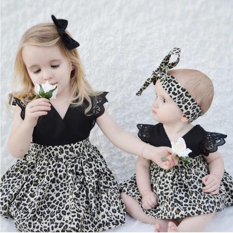 2017 New Summer Style Fashion Lace ruffle sleeve with leopard chiffon girls dress sister dress