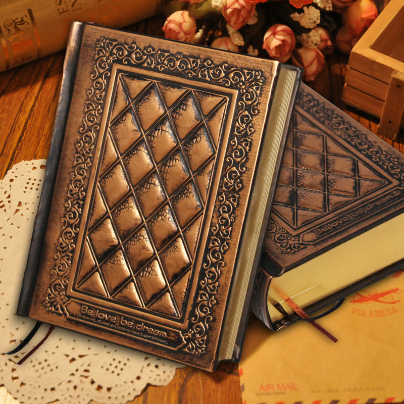 RuiZe hard cover thick notebook blank page krfat paper vintage leather notebook diary with gold edge creative stationery 140 page note paper creative fruit design