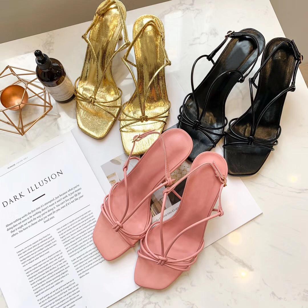 2019 Women Summer Sandals Height Heel Peep Toe Sandals Women Cross-Tie Square Narrow Band Ladies Simple Slides Shoes
