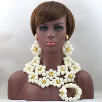 Romantic  Beads Jewelry Set Huge Flowers Balls Nigerian Wedding Party Women Christmas Gift Necklace Sets Free Shipping ABL511