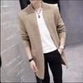 M-3XL Otoño e invierno de Los Nuevos Hombres de largo abrigo chaqueta de punto de los hombres jóvenes de Corea personalidad Delgado Géneros de Punto del suéter de color sólido