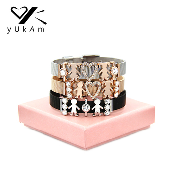 6b39c67d981e YUKAM joyería cristal corazón plata niñas niños familia mamá malla pulseras  amistad hermana pareja pulseras para regalo de mujer