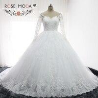 Rose Moda Dài Sleeves Puffy Ren Wedding Gown Bóng Illusion Lại Công Chúa Fluffy Wedding Dresses với Bóng Váy