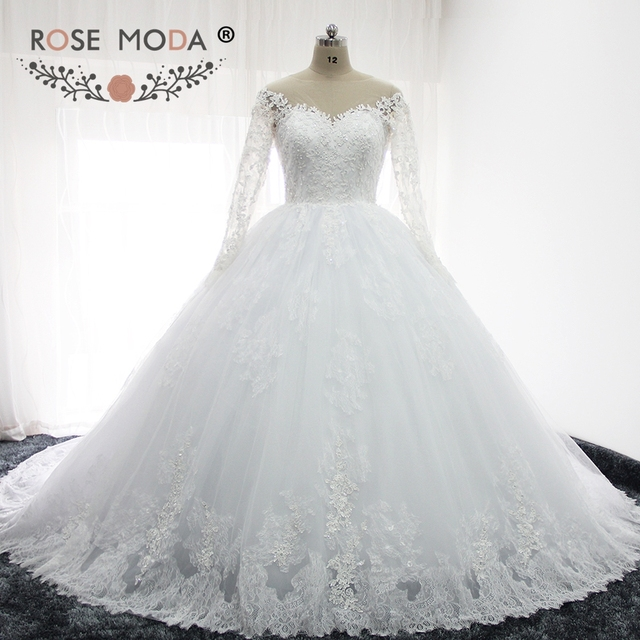 Rose Moda Long Sleeves Puffy Lace Wedding Ball Gown Illusion Back Princess Fluffy  Wedding Dresses with Ball Skirt d90a1dc9ddc5