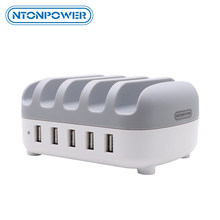 NTONPOWER 5 Ports USB Charger Desktop charger Station 5V 2.4A Charging for Mobile Phone and Tablet with Phone Holder(China)