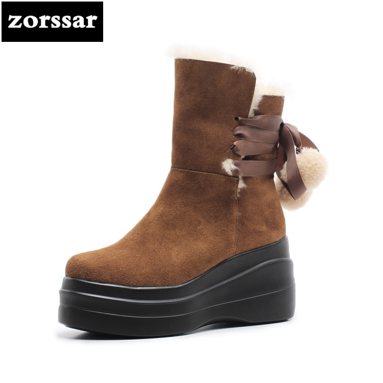 {Zorssar} 2018 New Warm Plush Women Snow Boots Womens Ankle Boots High heels platform shoes Suede leather Winter woman shoes zorssar 2018 new fashion women shoes round toe thick heel ankle snow boots patent leather high heels womens boots winter