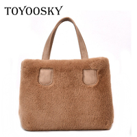 TOYOOSKY Simple Women Tote Bag 2018 Small All Match Single Shoulder Bags Fur Handbags New Design