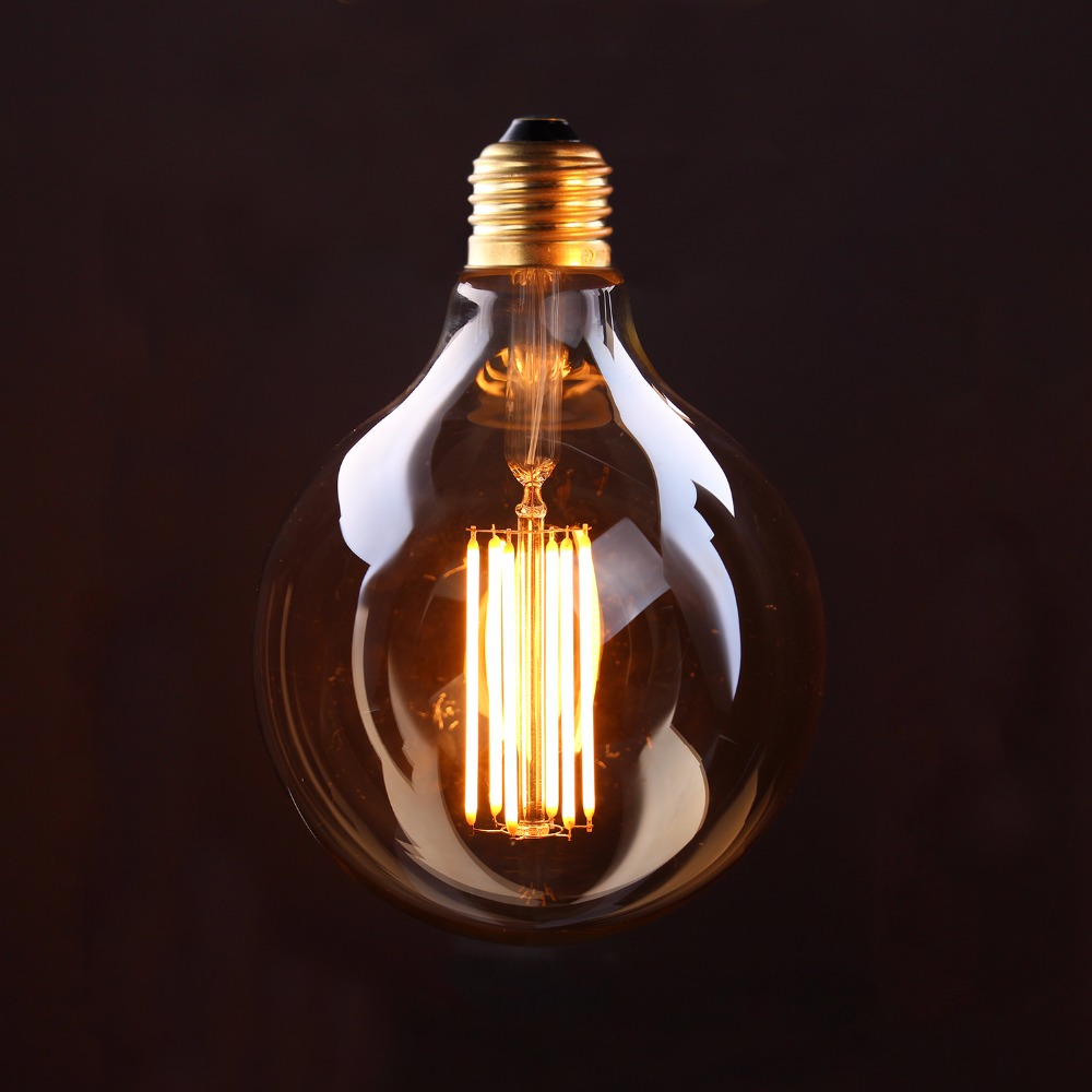 Vintage LED Long Filament Bulb,Gold Tint,Edison G125 Globe Style,4W 6W 2200K,Retro Decorative Lamp,Dimmable 5pcs e27 led bulb 2w 4w 6w vintage cold white warm white edison lamp g45 led filament decorative bulb ac 220v 240v