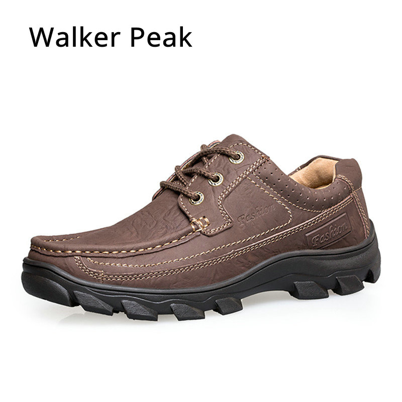 Spring Summer Men's Boat Shoes Casual Flat Lace Up Round Toe Shoes Comfortable Handmade Genuine Leather Shoes for man walkerpeak