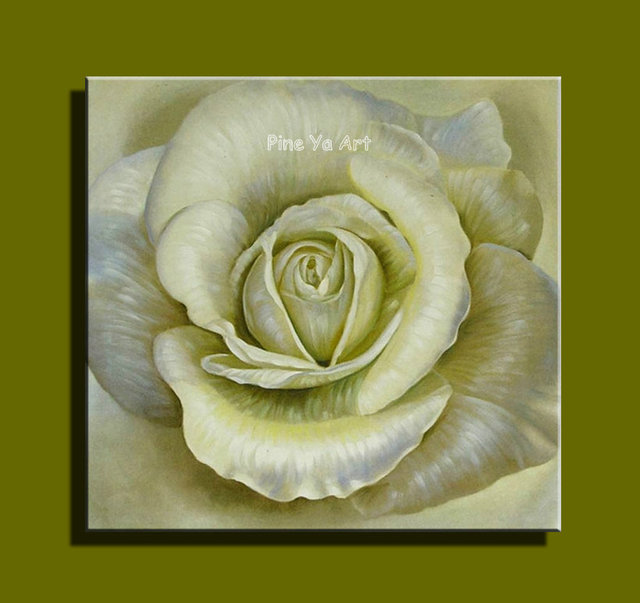 Kitchen Floral Yellow White Rose Canvas Wall Art Abstract Modern Oil ...