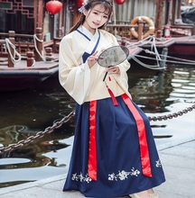 Chinese Traditional Hanfu heavy industry embroidered double cross collar Top jacket +Skirt cantonese Yue dress suits