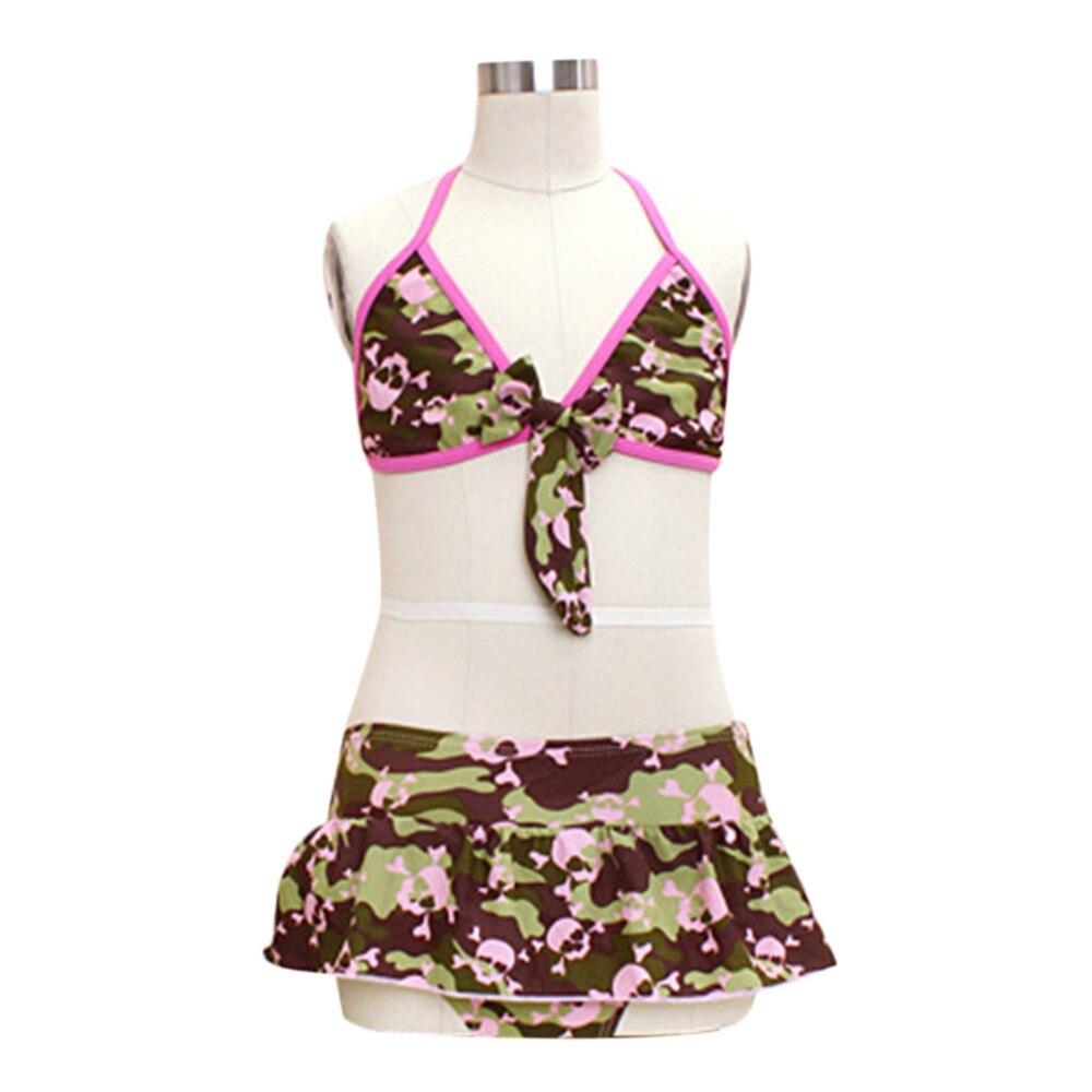 Clear Stock Navy Green Split Type Girls Lovely Swimsuits Kid Swimwear Bikini Skirts Free Shipping hwyhx 2016 new split type child girl floral pattern lovely swimsuits kid swimwear skirts best price
