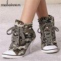 Estilo coreano Del Otoño Del Resorte de Las Mujeres Tacones Altos Lace Up Camuflaje Remaches de Mezclilla de Moda Zapatos Mujer Bombas zapatos de Lona Tamaño 34-41