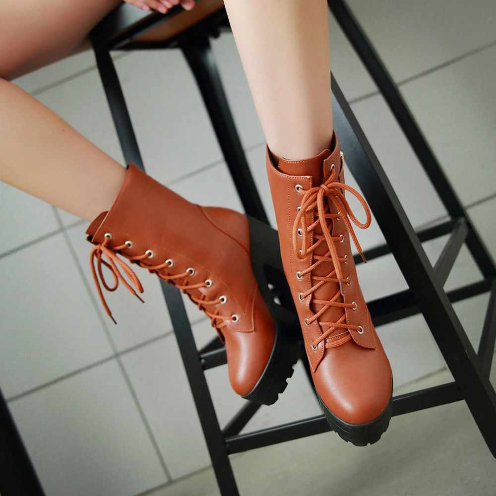 YOUYEDIAN Kalın Topuk yarım çizmeler Yüksek Topuk Martin Çizmeler Kalın Alt Dantel-up bayan Botları scarpe donna estive comode # a35