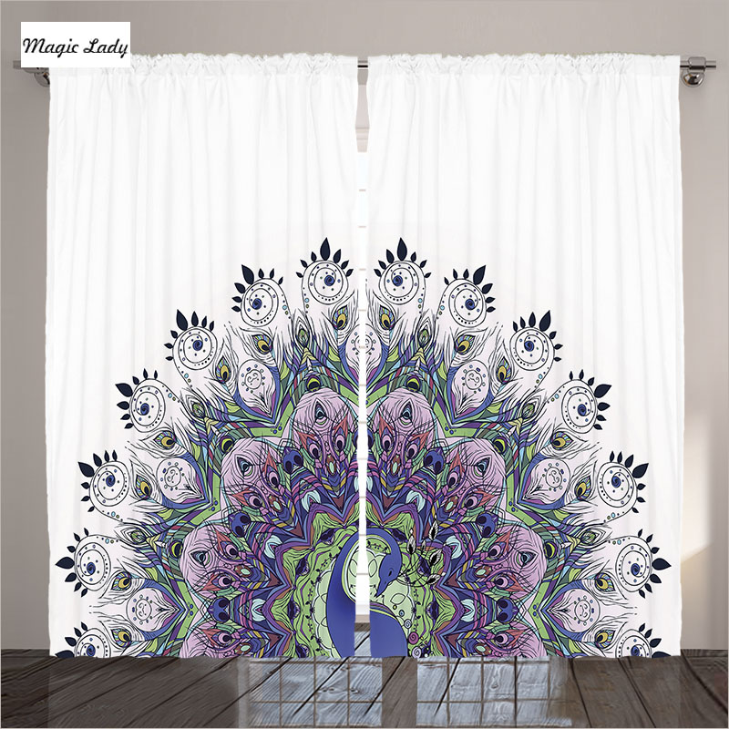 Blackout Curtains Kids Living Room Bedroom Peacock Home