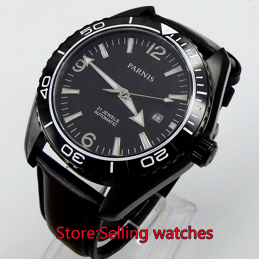 45mm Parnis black dial PVD Sapphire Glass Ceramic Bezel Automatic mens Watch