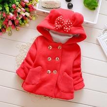 Winter Baby Parka dodatkowo pogrubiony aksamit dziewczynek odzież na śnieg niemowlę dziewczynki odzież wierzchnia płaszcz dwurzędowy łuk małe dziewczynki odzież