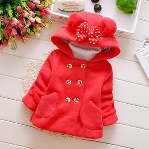 Image 1 - Winter Baby Parka dodatkowo pogrubiony aksamit dziewczynek odzież na śnieg niemowlę dziewczynki odzież wierzchnia płaszcz dwurzędowy łuk małe dziewczynki odzież