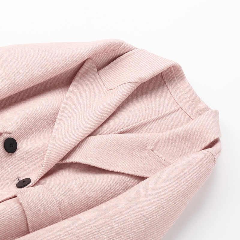Весенне осенняя куртка женская одежда 2019 корейский Винтаж Длинные шерстяные Женский жакет в стиле кэжуал Розовый Пальто Верхняя Abrigos Mujer ZT2381