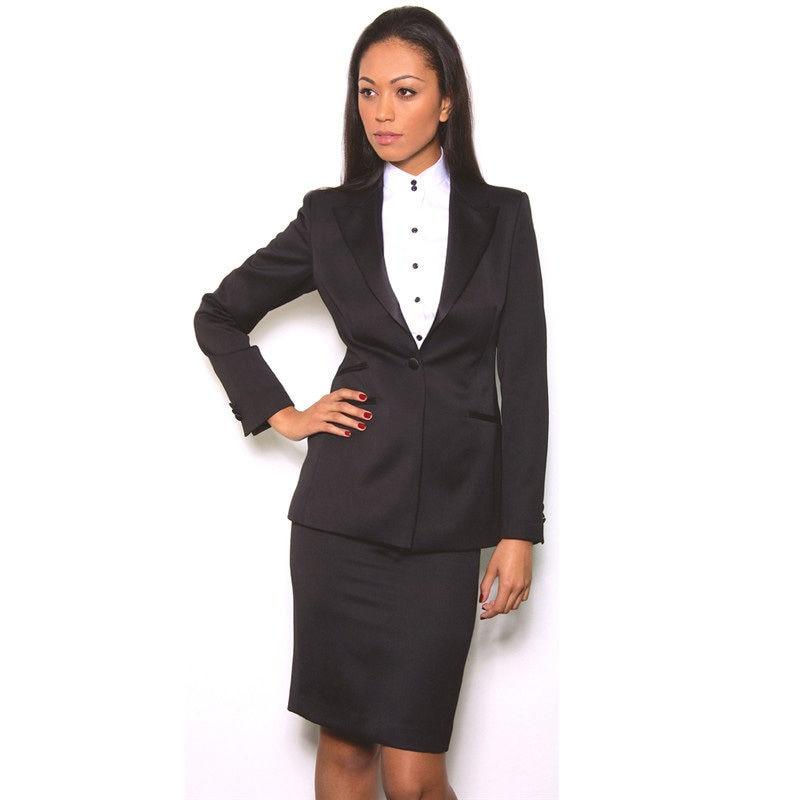 Nouveau noir femmes jupe costume à manches longues veste 2 pièce bureau dame d'affaires costume uniformes B332
