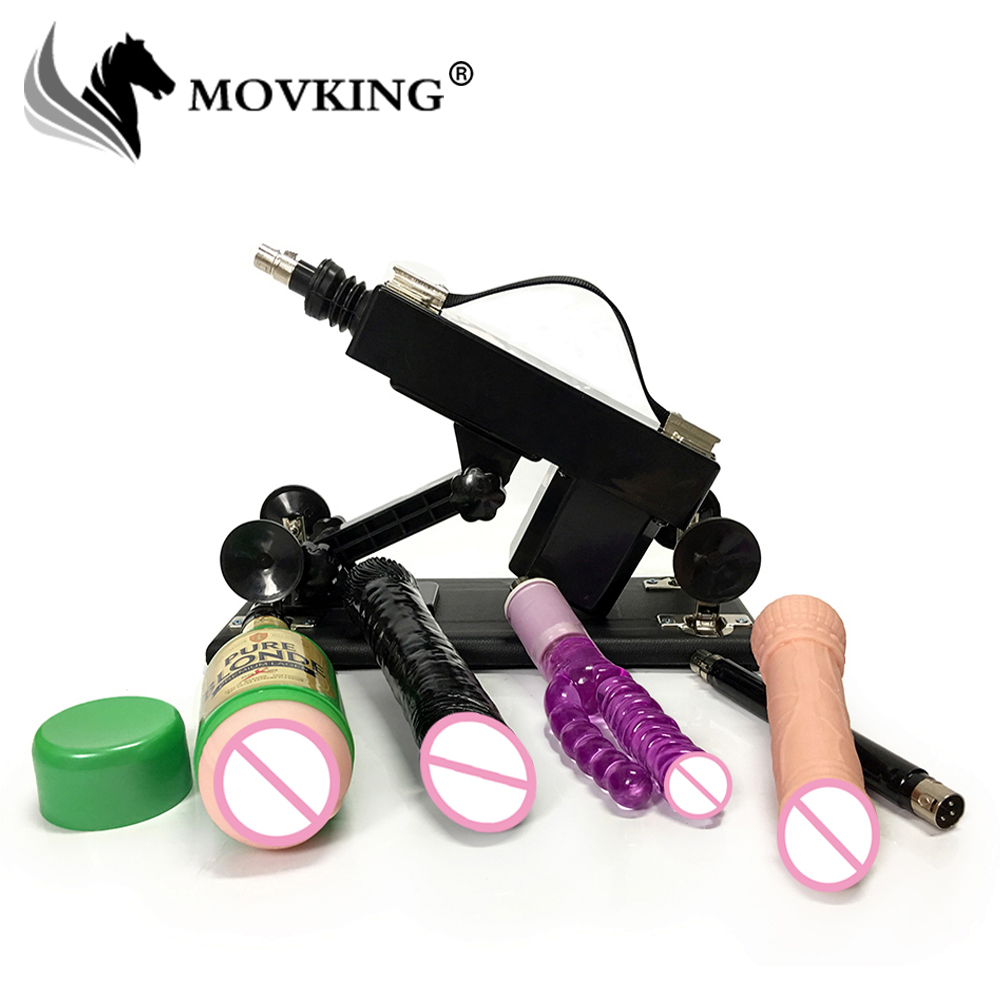 MOVKING Automatic Sex Machine Gun with Vagina Cup and Black Big Dildo Adjustable Speed Pumping Gun Sex Toys for Women and Men vibrator sex machine set for men and women automatic retractable thrusting speed machine with vagina cup and dildo adlut sex toy
