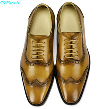 QYFCIOUFU New 2019 Handmade Vintage formal shoes Designer Party Wedding Office Men dress Genuine Leather brogue