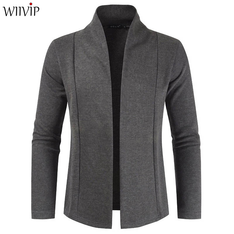 Man New Fashion Stand Collar Full Sleeve Solid Simple Knit Sweater Cardigans Coat Male Spring Autumn Casual Outerwear YW494