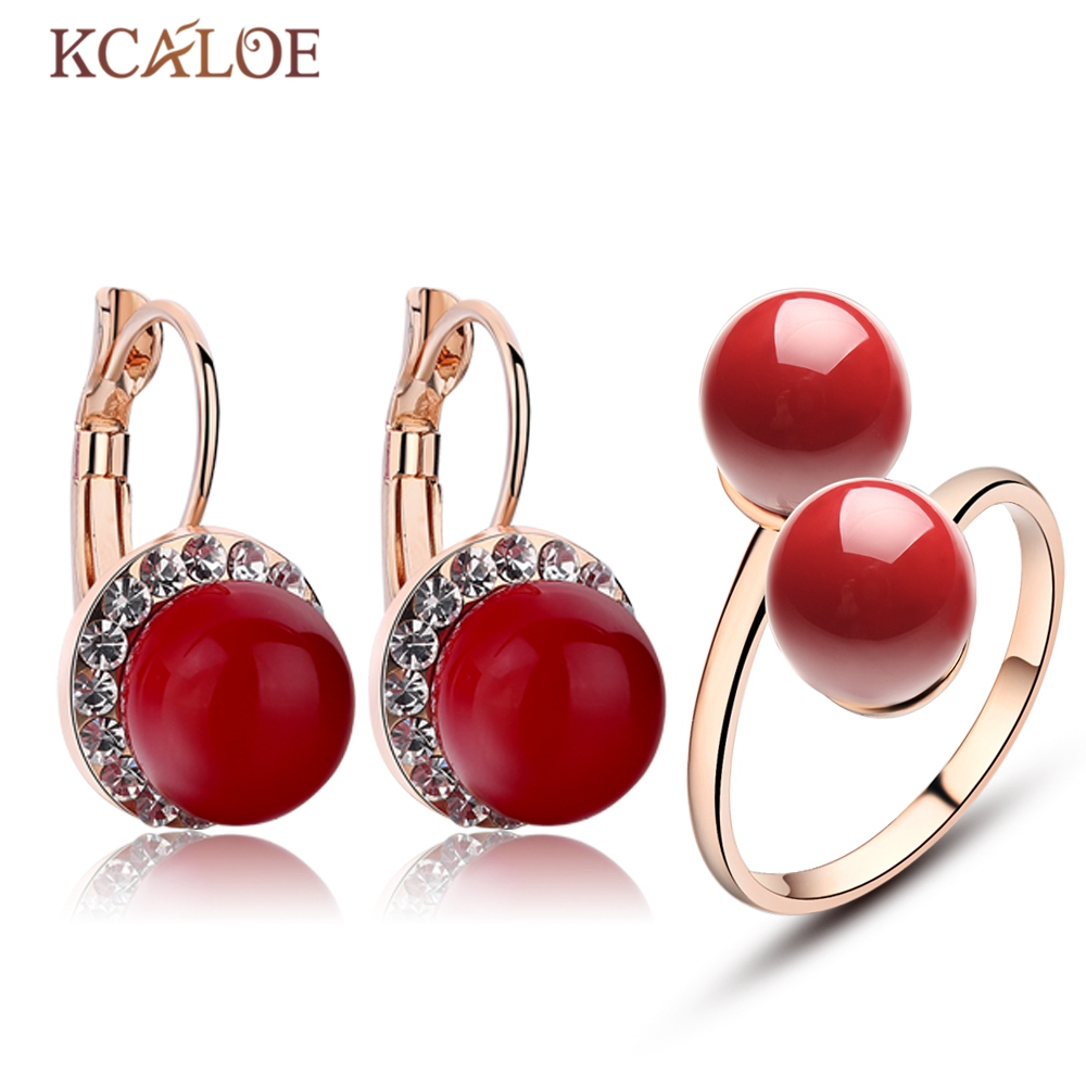KCALOE Women Weeding Jewelry Set Rose Gold Plate Crystal Rhinestone Red Artificial Coral Earrings Ring Fashion Jewellery Sets