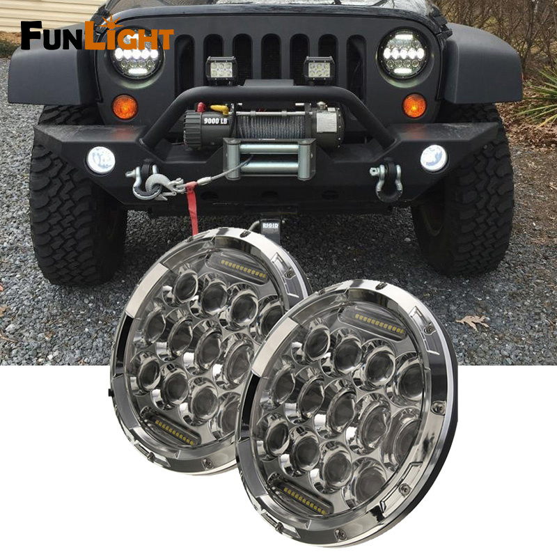 Chrome 75w 7inch Round LED Headlight with DRL Hi/lo Beam for Jeep Wrangler Jk TJ Lighting pair 75w 7inch 5d headlight led h4 plug h13 drl hi lo beam for jeep jk tj cj hummer