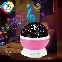 Coversage muzyka obrotowa lampka nocna projektor Spin Starry Star Master dzieci dzieci dziecko sen romantyczna lampa led na usb projekcja