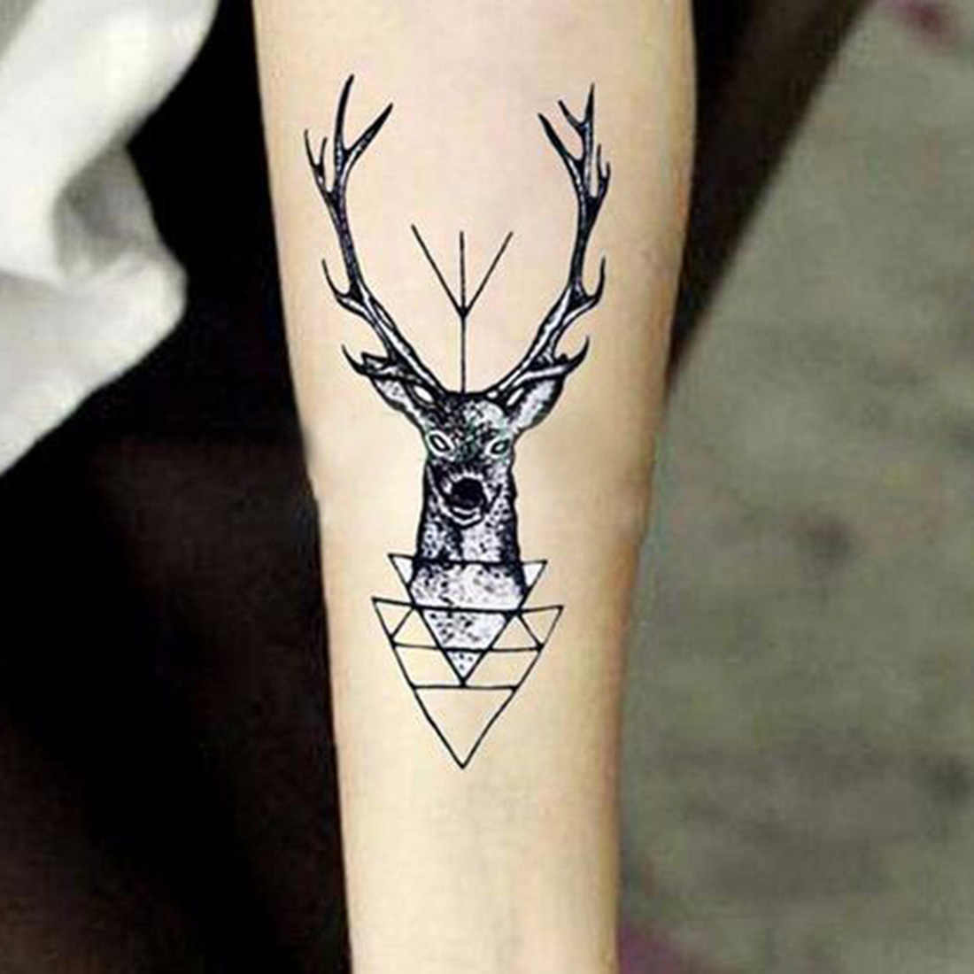 2016 Hot Sale Waterproof Temporary Tattoo Sticker Elk Head Deer Tattoo Bucks Horn Antlers Fake Tattoo For Unisex