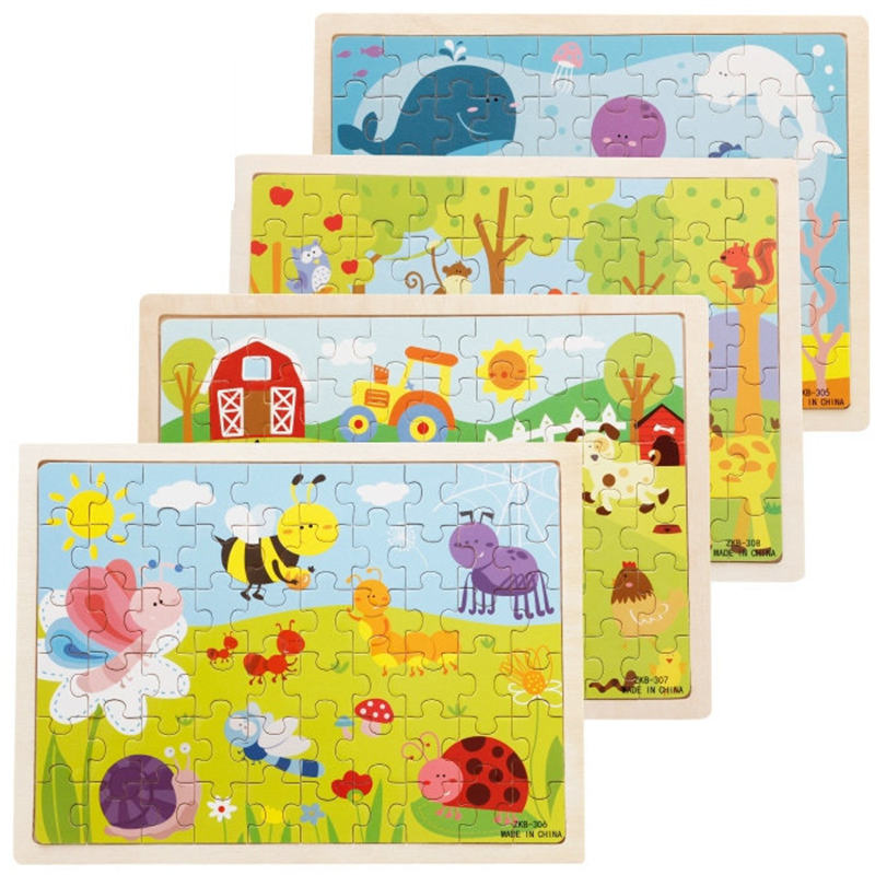 Image 3 - 60pcs Cartoon Wooden Toys 8 STYLES 3D Wooden Puzzle Jigsaw Puzzle for Child Educational Toy-in Puzzles from Toys & Hobbies