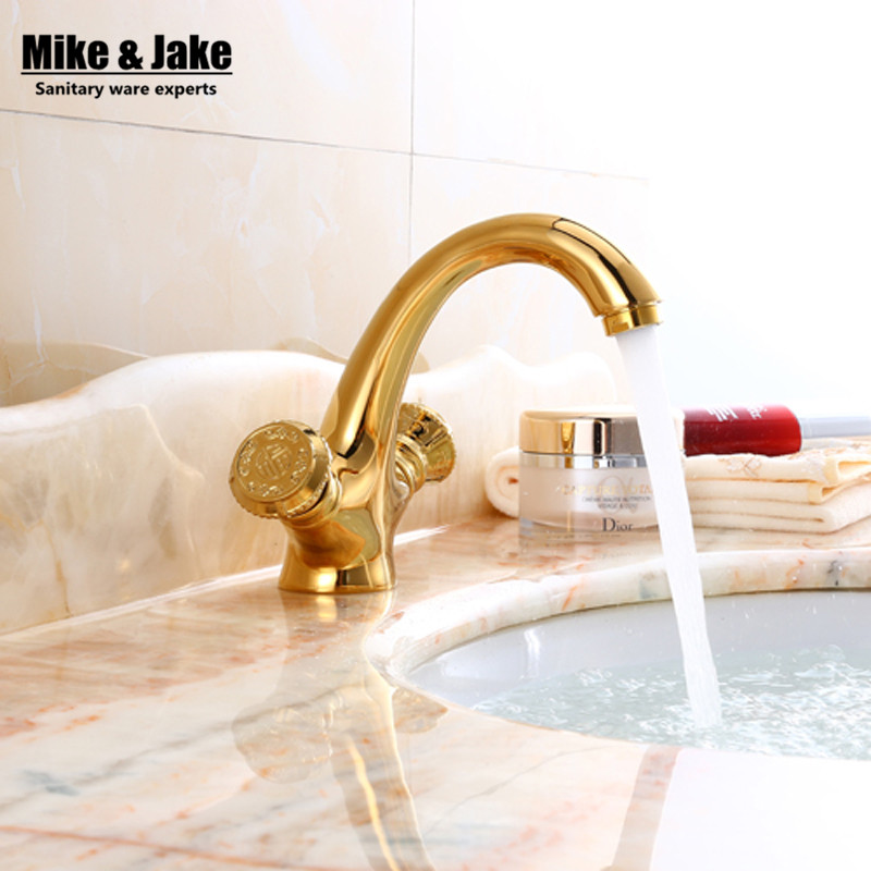 Free shipping golden Brass crystal handle Bathroom Basin Faucet tap toilet water faucet hot&cold basin sink Mixer Tap 9203 swan shape antique bathroom brass basin faucet hot and cold copper retro sink basin faucet mixer water tap golden free shipping